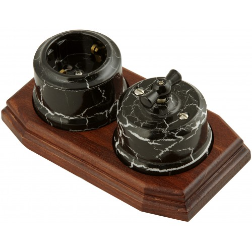 Розетка электрическая Lindas 35028, цвет черный камень