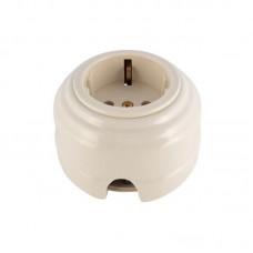 Розетка электрическая фарфоровая проходная с золотистыми з/к 2 отверстия под углом 180 гр. Leanza РПБЗ, цвет белый