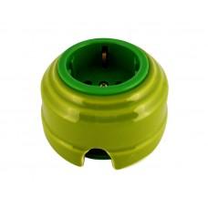 Розетка электрическая фарфоровая проходная с золотистыми з/к 2 отверстия под углом 180 гр. Leanza РПФЗ, цвет фисташковый