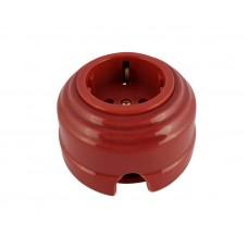 Розетка электрическая фарфоровая проходная с золотистыми з/к 2 отверстия под углом 180 гр. Leanza РПГЗ, цвет гранатовый