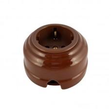 Розетка электрическая фарфоровая проходная с золотистыми з/к 2 отверстия под углом 180 гр. Leanza РПКЗ, цвет коричневый