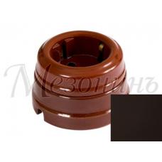 Розетка электрическая Greenel GE70301-ТК, цвет темно-коричневый