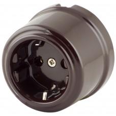 Розетка электрическая Retrika RS-80002-ТК, цвет темно-коричневый