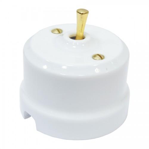 Выключатель тумблерный Lindas 34410-G, цвет  белый/латунь