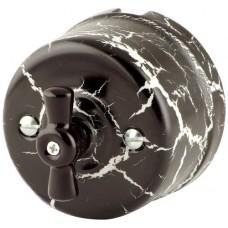 Выключатель 2-х позиционный Retrika R-SW-19-ЧМ, цвет черный мрамор