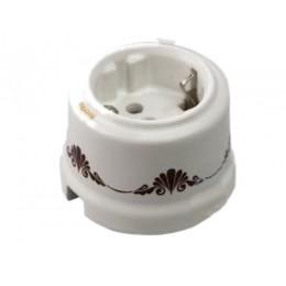 Розетка электрическая Retrika RS-800001, цвет декор коричневый №1