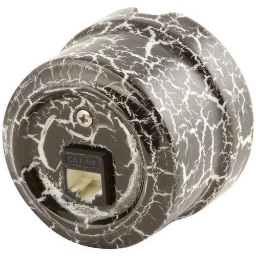 Розетка RJ-45 Lindas 32028, цвет черный камень