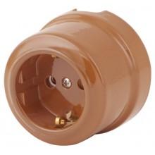 Розетка электрическая Lindas 350-МШ, цвет молочный шоколад