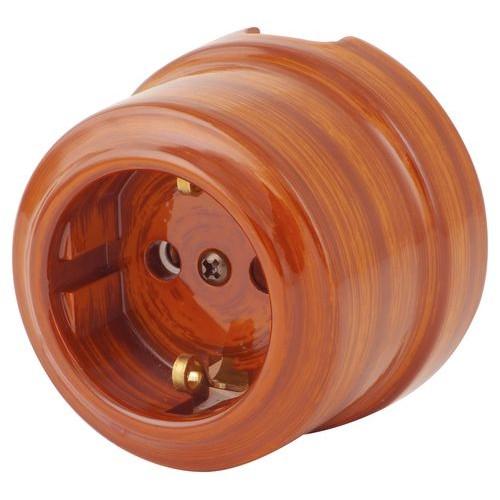 Розетка электрическая Lindas 35026, цвет орех
