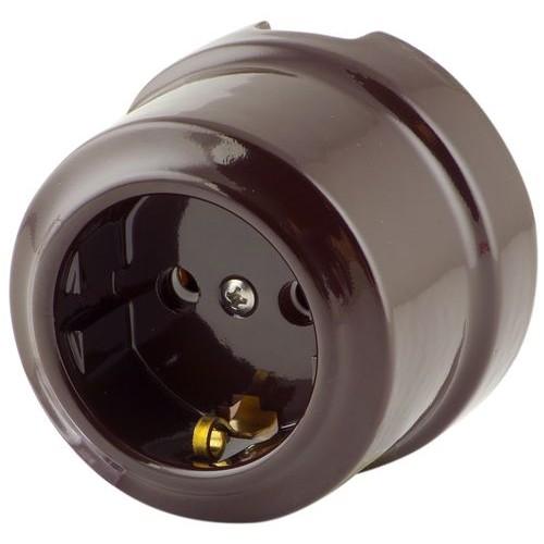 Розетка электрическая Lindas 35012, цвет коричневый