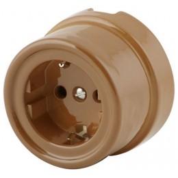 Розетка электрическая со шторками Werkel a036796-К, цвет капучино