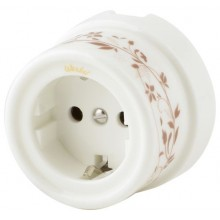 Розетка электрическая Werkel a036795-ОЛ, цвет орнамент лиана