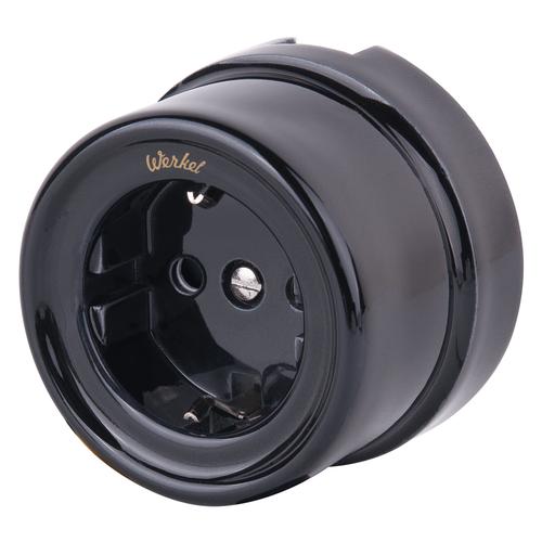 Розетка электрическая со шторками Werkel a036816, цвет черный