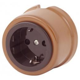 Розетка электрическая Salvador OP12CO, цвет какао