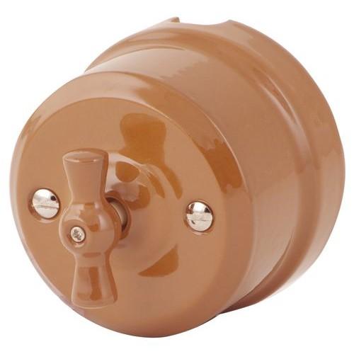 Выключатель 2-х позиционный Lindas 340-МШ, цвет молочный шоколад