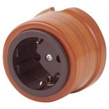 Розетка электрическая Salvador OP12MB, цвет мербау