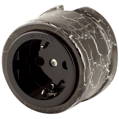 Розетка электрическая Salvador OP12BLM, цвет черный мрамор