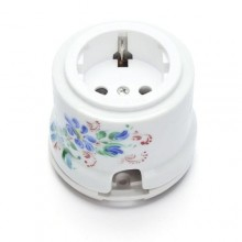 Розетка электрическая Salvador OP12WT.RJ, цвет белый с цветными ромашками