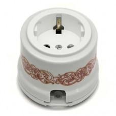 Розетка электрическая Salvador OP12UZ, цвет белый с узором