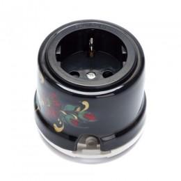 Розетка электрическая Salvador OP12BL.HL, цвет черный с цветами и ягодами