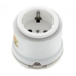 Розетка электрическая Salvador OP12RM, цвет белый с узором Ромашка