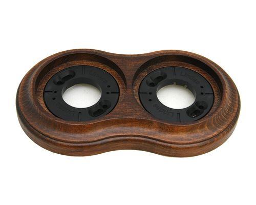 Рамка двухместная наружная Lindas 25263, цвет орех лакированный
