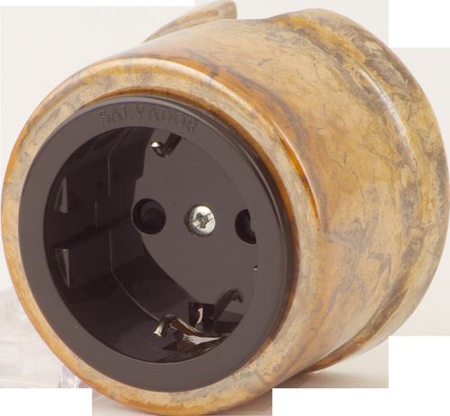 Розетка электрическая Salvador OP12RSM, цвет мрамор россо