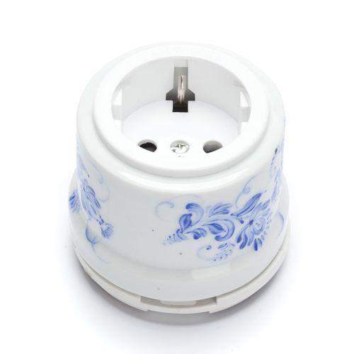 Розетка электрическая Salvador OP12WT.GZ, цвет белый с синим гжельским узором