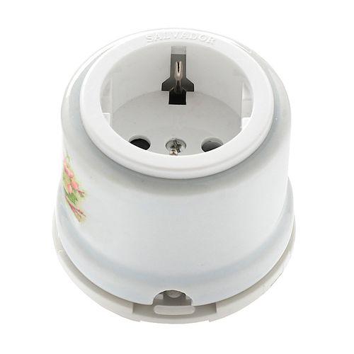Розетка электрическая Salvador OP12AP, цвет белый с узором Яблоня
